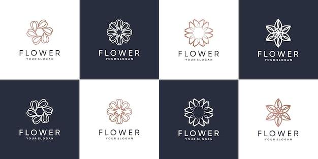 Ustaw logo kwiatu pakietu z kreatywnym pomysłem premium wektor