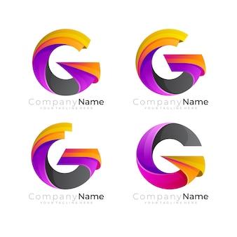 Ustaw logo litery g z kolorowym wektorem, 3d kolorowe
