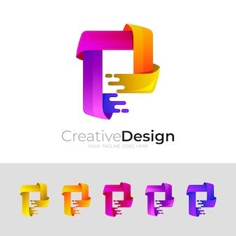 Ustaw logo litery p z kolorowym szablonem, styl 3d