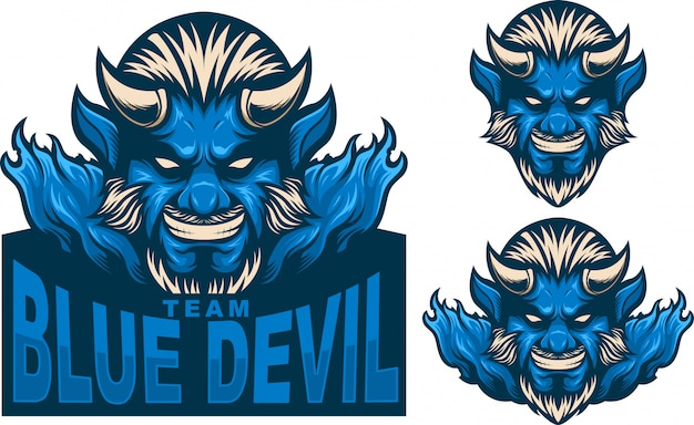 Ustaw logo maskotki niebieski diabeł
