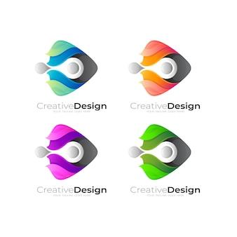 Ustaw logo odtwarzania z wektorem projektowania technologii, kolorowy styl