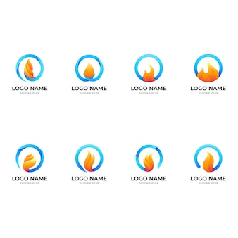 Ustaw logo ognia, ogień i okrąg, logo kombinacji z 3d