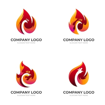 Ustaw logo ognia pawia, paw i ogień, logo kombinacji w stylu 3d w kolorze czerwonym i pomarańczowym