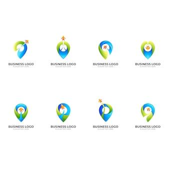 Ustaw logo pinezki lokalizacji i projekt samolotu