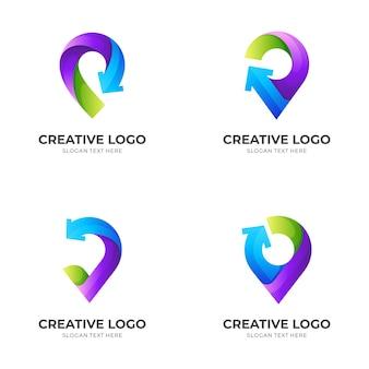 Ustaw logo pinezki, pinezkę i strzałkę, logo kombinacji z kolorowym stylem 3d