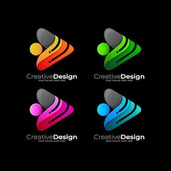 Ustaw logo play i projekt technologii, 3d kolorowe