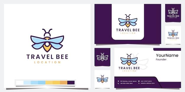 Ustaw logo podróżnej pszczoły z inspiracją do projektowania logo w wersji kolorowej