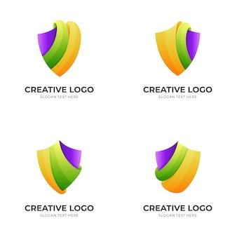 Ustaw logo szablonu tarczy w kolorowym stylu 3d