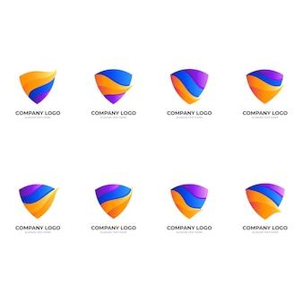Ustaw logo tarczy z abstrakcyjną kombinacją wzorów, kolorowe logo 3d