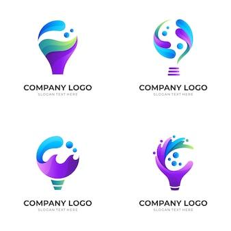 Ustaw logo wody żarówki, żarówkę i wodę, logo kombinacji z kolorowym stylem 3d