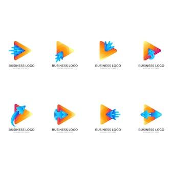 Ustaw logo wody ze strzałką gry, grę, strzałkę i wodę, logo kombinacji w kolorowym stylu