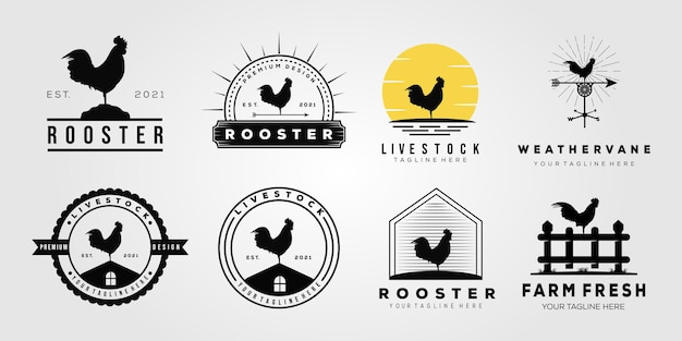 Ustaw logo zwierząt gospodarskich z kurczaka koguta. wiatrowskaz, pisklę, projekt ilustracji wektorowych logo farmy
