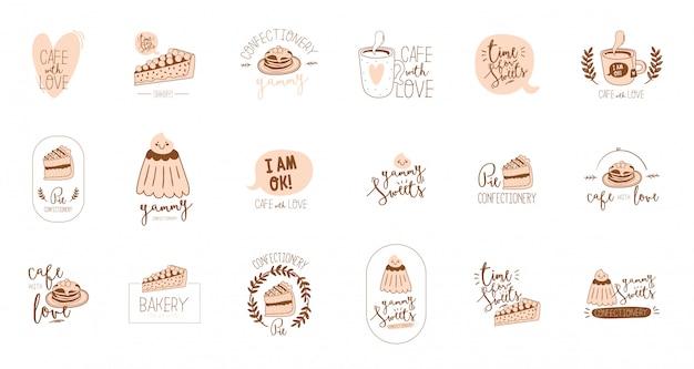 Ustaw logotyp do projektowania menu restauracji i kawiarni. szablon logo.