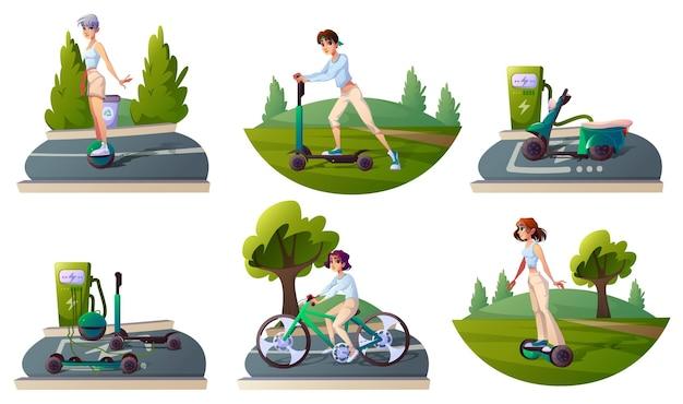 Ustaw ludzi jeżdżących ekologicznie transportem i ładowaniem