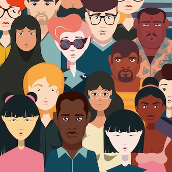 Ustaw ludzi różnych narodowości, kolorowe ubrania, różne fryzury, kolor skóry, styl ubioru. tłum ludzi.