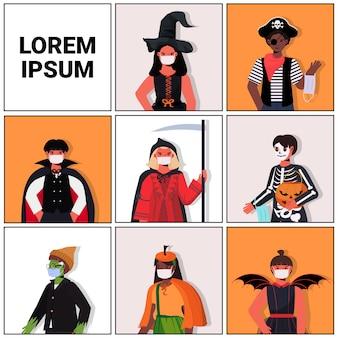 Ustaw ludzi w maskach w różnych kostiumach wesołego halloween uroczystość kolekcja portretów koronawirusa koncepcja kwarantanny