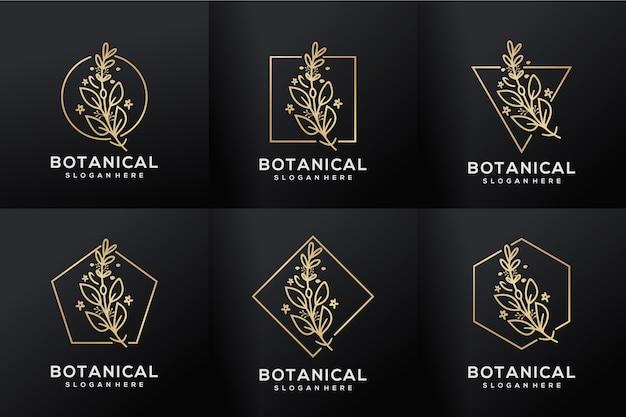Ustaw luksusowe logo botaniczne