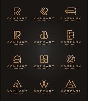 Ustaw luksusowy szablon logo