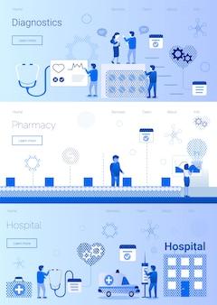 Ustaw makieta wsparcia medycznego i usług baner płaski