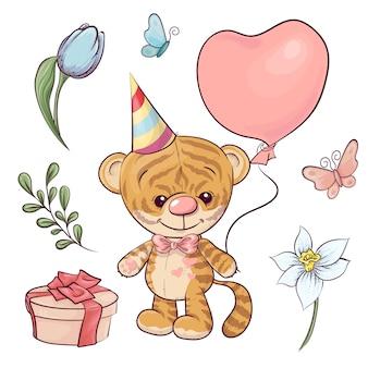 Ustaw małego tygrysa z balonem. rysunek odręczny. ilustracji wektorowych