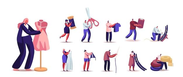Ustaw męskie i kobiece postacie krawcowe stwórz strój i odzież
