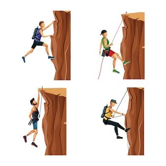 Ustaw mężczyzn sceny wspinaczki na skale bez sprzętu