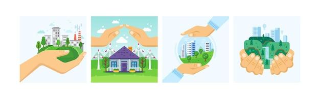 Ustaw miasto w rękach ochrony ekologii. nowoczesna koncepcja ochrony środowiska miejskiego dzień ziemi