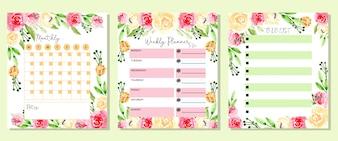 Ustaw miesięczny tygodniowy i zrobić listę kwiatów akwarela