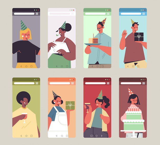Ustaw mieszankę ludzi rasy w świątecznych czapkach świętujących urodziny online szczęśliwych mężczyzn kobiet w smartfonie