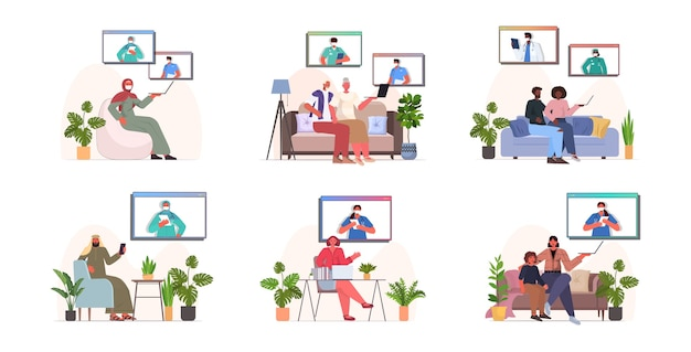 Ustaw mieszankę rasy ludzi rozmawiających z lekarzami w oknach przeglądarki internetowej podczas rozmowy wideo