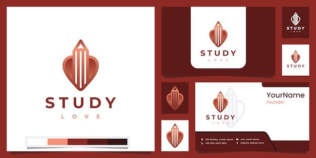 Ustaw miłość do nauki logo z inspiracją do projektowania logo w wersji kolorowej