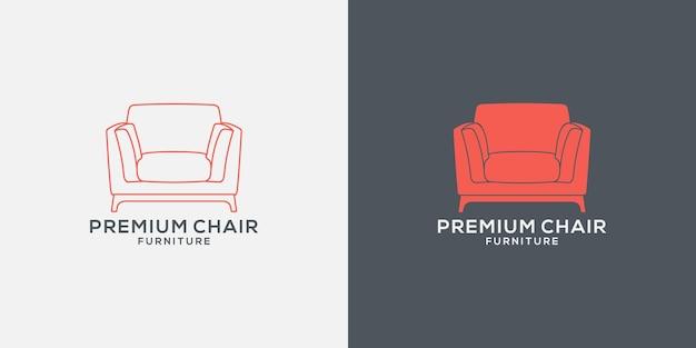 Ustaw minimalistyczny projekt logo sofy dla mebli, nieruchomości i wnętrz