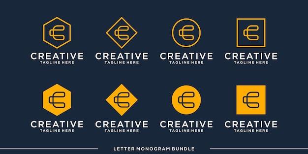 Ustaw monogram ikona początkowy szablon projektu logo c