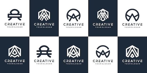 Ustaw monogram list projekt logo