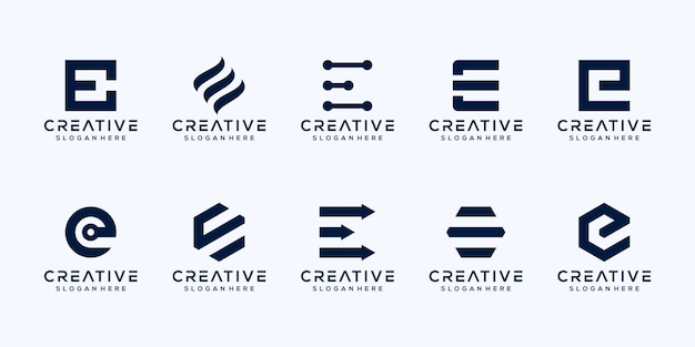 Ustaw monogram początkową literę e projekt logo