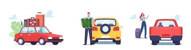 Ustaw motyw podróży samochodem. mężczyzna z mapą i i kobieta z rzeczy kempingowych i bagażu podróżowanie samochodem. postacie męskie i żeńskie cieszą się turystyką samochodową, podróżą po drogach. ilustracja wektorowa kreskówka ludzie