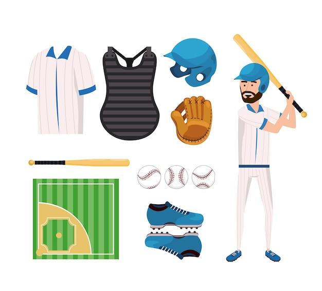 Ustaw mundur baseballowy i zawodowy zawodnik