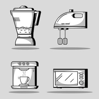 Ustaw naczynia kuchenne obiektu do robienia jedzenia