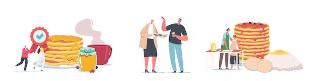 Ustaw najlepszą koncepcję deserów. małe postacie gotują i jedzą domowe naleśniki i ciasteczka. ludzie w ogromnym stosie naleśników, rodzina w kuchni smażenia flapjacks o poranku. ilustracja kreskówka wektor
