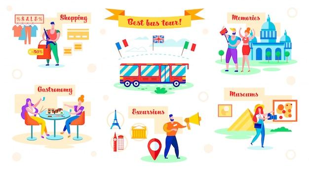 Ustaw najlepszą wycieczkę autobusową, zakupy i gastronomię, mieszkanie.