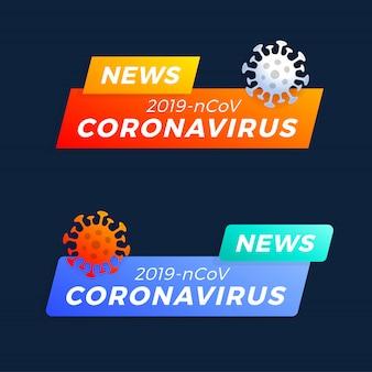 Ustaw najnowszy nagłówek covid-19 lub koronawirus. koronawirus w ilustracji wektorowych wuhan.