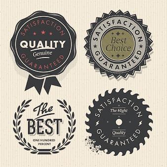 Ustaw najwyższą jakość i etykiety gwarancyjne w stylu retro vintage