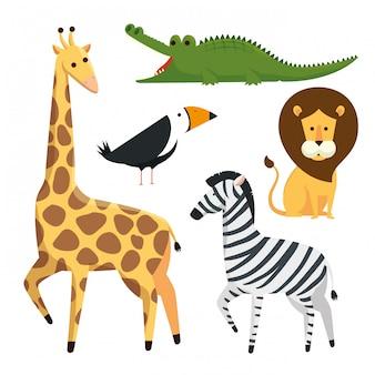 Ustaw niebezpieczeństwo dzikich zwierząt w rezerwacie safari