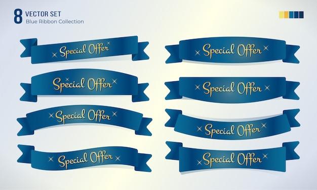 Ustaw niebieską wstążkę z tekstem promocyjnym oferty specjalnej