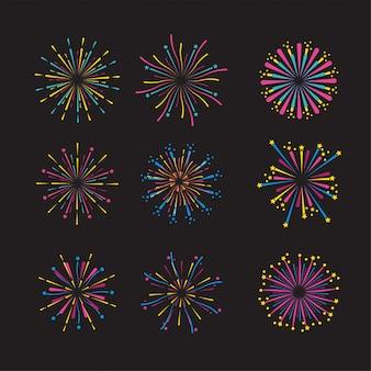 Ustaw nocną dekorację fajerwerków na wydarzenie