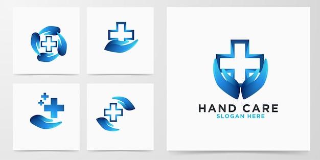 Ustaw nowoczesne logo krzyża medycznego pielęgnacji dłoni