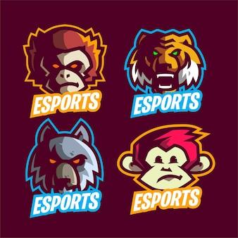 Ustaw Nowoczesne Logo Zwierząt E-sportowych Premium Wektorów
