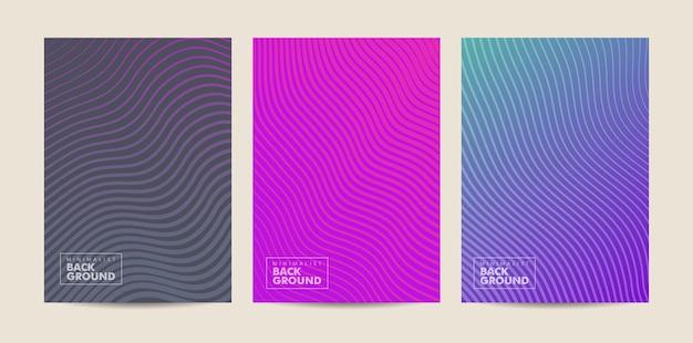 Ustaw nowoczesny minimalistyczny wzór fali linii tła