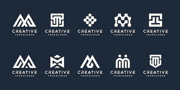 Ustaw nowoczesny projekt logo litery m