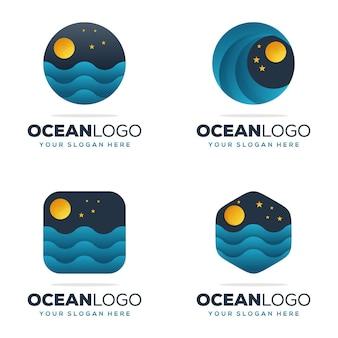 Ustaw nowoczesny projekt logo oceanu